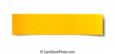 yellow paper banner isolated on white