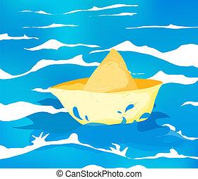 Yellow paper boat sailing in the ocean