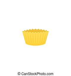 Yellow paper cup for bakery product, flat design icon