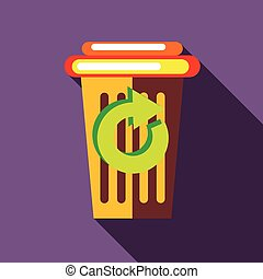 Yellow paper cup with green circular arrow