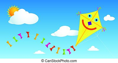 Yellow paper kite with happy face and tail with colorful bows flying in a blue sky with clouds - Vector image