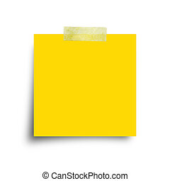 Yellow paper note with sticky tape isolated on white