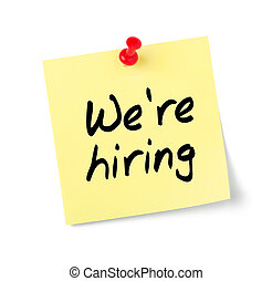 Yellow paper note with text We are hiring