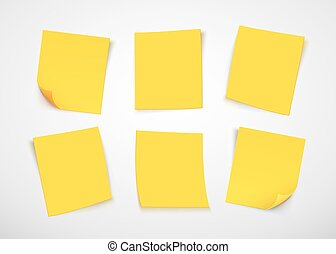 Yellow paper notes. Post it note.