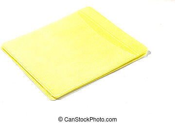 yellow paper on white background