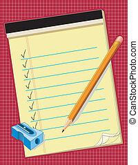 Yellow Paper, Pencil, Sharpener