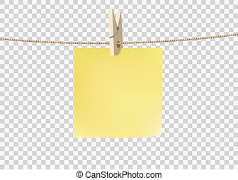 Yellow paper sticky note hanging on a rope