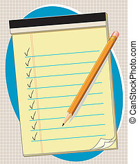 Yellow Paper Tablet, Pencil - Yellow paper pad with check...
