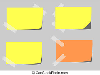 Yellow paper with adhesive tape