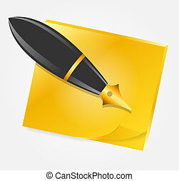 Yellow paper with ink pen icon vector illustration