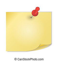 Yellow paper with pin on white background vector illustration