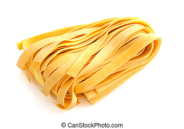 Yellow pappardelle fresh pasta isolated over white