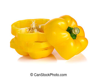 Yellow paprika isolated on the white background