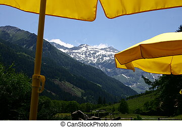 Yellow Parasol - Yellow parasols in mountains