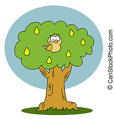 Yellow Partridge In A Pear Tree - Cartoon Character Yellow...