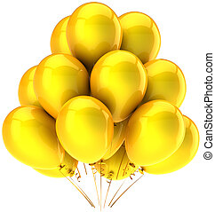 Yellow party balloons sunny emotion