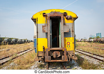 Yellow passenger compartment train