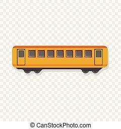 Yellow passenger wagon icon, cartoon style