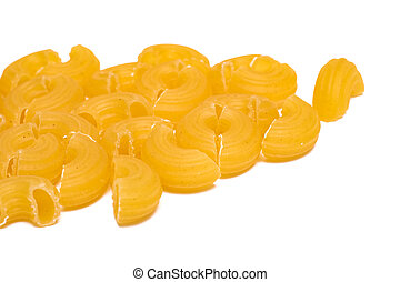 Yellow pasta isolated on a white background