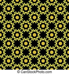 Yellow pattern on black seamless design backdrop.