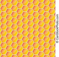 Yellow pattern with honeycomb. Vector illustration
