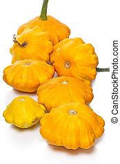 Yellow pattypan squash isolated on white background