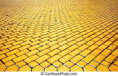 yellow pavement - yellow paved pavement