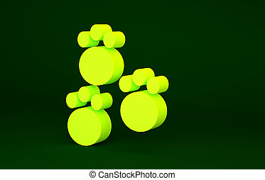 Yellow Paw print icon isolated on green background. Dog or ...