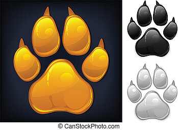 Yellow paw prints - Yellow animal paw print isolated on...
