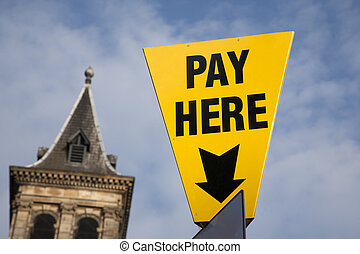 Yellow Pay Here Sign