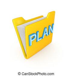 Yellow PC folder with a blue inscription PLAN.