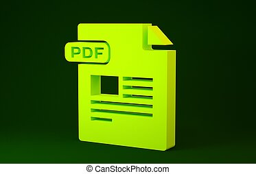 Yellow PDF file document. Download pdf button icon isolated on green background. PDF file symbol. Minimalism concept. 3d illustration 3D render