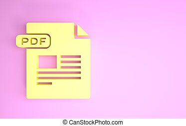 Yellow PDF file document. Download pdf button icon isolated on pink background. PDF file symbol. Minimalism concept. 3d illustration 3D render
