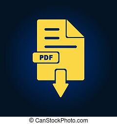 Yellow pdf, file download icon on black font.