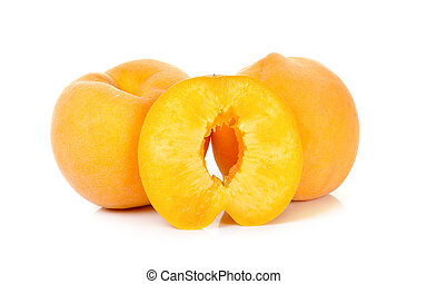 Yellow peach isolated on the white background