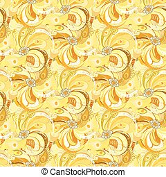 Yellow peacock feathers seamless pattern background.