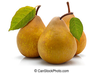 Yellow pear fruits with green leaf isolated