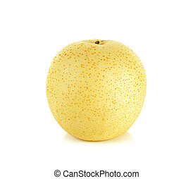 Yellow pear isolated on the white background