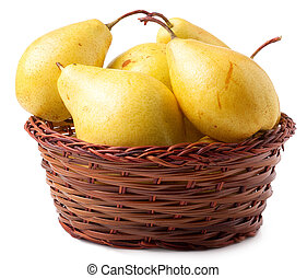 Yellow Pears In A Basket On White Background