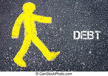 Yellow pedestrian figure walking towards DEBT