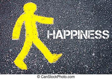 Yellow pedestrian figure walking towards HAPPINESS