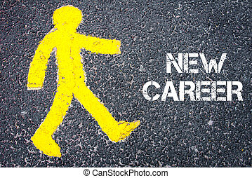 Yellow pedestrian figure walking towards NEW CAREER