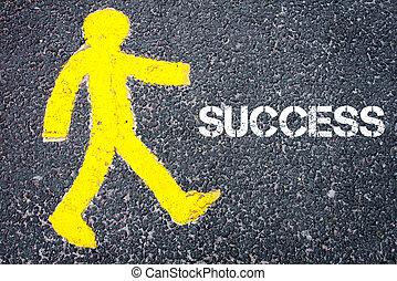 Yellow pedestrian figure walking towards SUCCESS