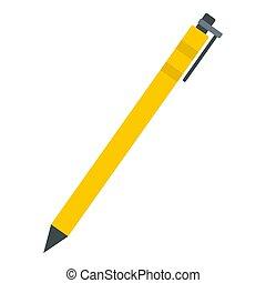 Yellow pen icon, flat style