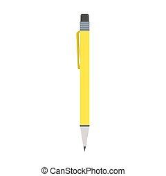 Yellow pen vector flat illustration design isolated on white background