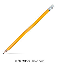 Yellow pencil with eraser isolated on white, clipping path.