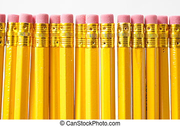 Yellow pencils isolated on white background