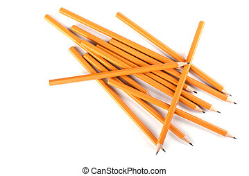 Yellow pencils isolated on white background. Stationery concept