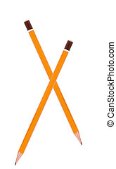 yellow pencils isolated on white