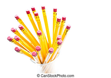 Yellow pencils with a rubber on the end